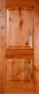 "Pre-Hung or Slab 30""x96"" INTERIOR Knotty Alder 2 Panel Arched Wood Door (1-3/4"")"