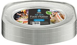 """Disposable Aluminium Catering Serving Party Foil Platters 14"""" Inches Pack Of 21"""