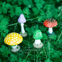 4pc Colourful Mushroom Garden Ornaments Fairy Toadstools Enchanted Resin Outdoor