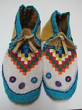 NATIVE AMERICAN HANDMADE BEADED MOCCASINS 10 1/2 INCHES