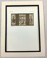 1927 Antique Imprimé Triptych Peinture Madonna Enfant Christ Anges Hans Memling