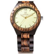 Reloj analógico de cuarzo de madera lujo para hombre Relojes con correa sólida