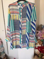 East John Lewis 100 % Pure Silk Multi Coloured  L/S Shirt Top Size 10.RRP £129.