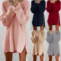 UK Womens Long Sleeve Jumper Knitted Sweater Loose Tunic Top Mini Dresses