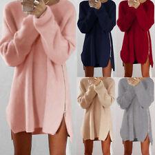 Damen Winter Longpulli Strick Pulli Tunika Strickpullover Sweater Minikleid DE