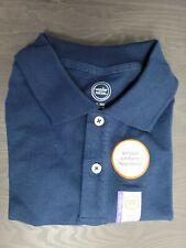Wonder Nation Young Boy School Uniform Short Sleeve Polo Blue Shirt Xl/Xg 14-16