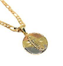 """Virgen de Guadalupe Medalla Pendant Necklace Tres Colores Cadena 26"""" Oro Lamina"""