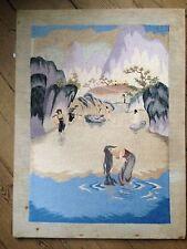 Tableau brodé de fils de soie  paysage animé Indochine 1930