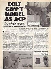 1990 COLT Government Gov't. Model .45 ACP Pistol 2pg Gun Test Evaluation Article