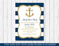 Nautical Gold Anchor Printable Baby Shower Invitation Editable PDF
