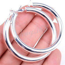 Classic Ladies Large Round Hoop Fashion 925 Sterling Silver Earrings 2 inch H792