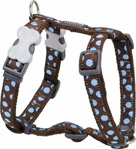 Red Dingo Spot Design Harness BROWN / BLUE for Dog / Puppy   XS    FREE P&P