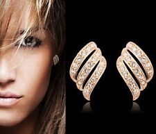 18K REAL GOLD FILLED ANGEL WING STUD EARRINGS MADE WITH SWAROVSKI CRYSTALS XMAS