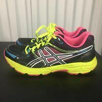ASICS T2F9Q Women's Size US 8.5 Black Neon Running Shoes Gel Contend EUC