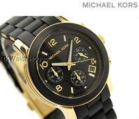 NEW MICHAEL KORS BLACK GOLD RUNWAY CHRONOGRAPH LADIES WATCH MK5191