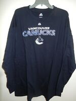 91211 Mens Majestic VANCOUVER CANUCKS PLUS SIZE Long Sleeve Jersey SHIRT New