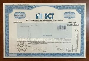 Vintage Stock Certificate SCT Systems & Computer Technology Corporation 1993