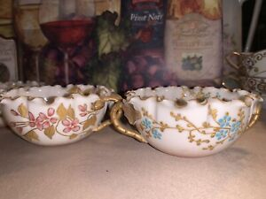 Antique 4 Willets American Belleek hand-painted porcelain open (Cups) dishes