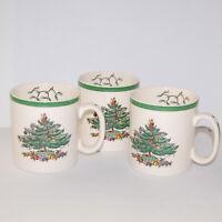 "Spode Christmas Tree Green 3.25"" Coffee Mugs Set of 3 England #S3324"