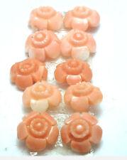 Antique Undyed Carved Coral Mini Button FLOWER Stone 2/set  #EST838