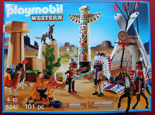 PLAYMOBIL # 5247 NATIVE AMERICAN TEEPEE INDIAN CAMP PLAYSET W/ACCESSORIES  MIB