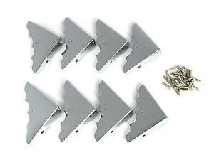 8pc Shiny Chrome Straight Back Box Corners with Screws-Perfect for wooden boxes!