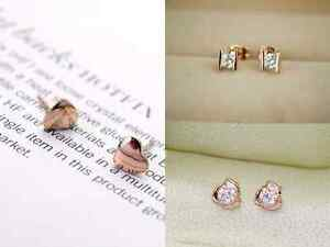3 Paar Herz Kristall Set Ohrringe Ohrstecker Ohrschmuck vergoldet Geschenk neu