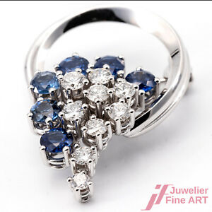 Brooch IN 18K White Gold - 6 Sapphire Together 1,0 CT +9 Diamonds Tw / Vs
