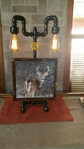 Antique Style Industrial pipe table lamp w white tail deer clock& edison bulb
