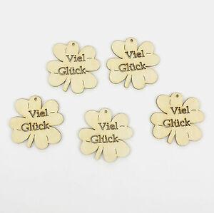 Kleeblatt Viel Glück 5 Stück 5 cm, aus Holz Geschenkanhänger Geburtstag Giveaway