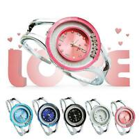 New Women Bangle Crystal Dial Stainless Steel Quartz Analog Wrist Watch 1pc A21