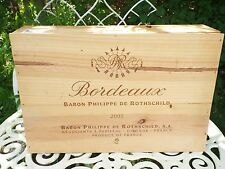 French Rothschild Wooden Wine Box Crate Vintage Shabby Chic Storage