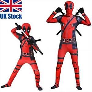 Deadpool Costume Cosplay Kids Bodysuit Boys Fancy Dress Party Adult Superhero