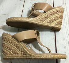 BCBGeneration SARONG Beige Braided Wedge High Heel Thong Sandals Shoes Size 9 B