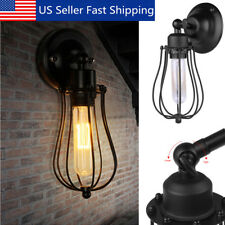 Rustic Vintage Industrial Style Wall Mount Light Sconce Lamp Wired Cage  CA