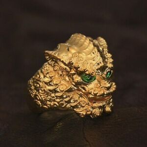 Green Eyes Gold Plated Brass Chinese Style Lion Ring Charms Ring GP268D US 7~15