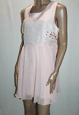 Ally Brand Pink Chiffon Lace Up Side Sleeveless Dress Size 14 BNWT #SN93