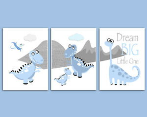 Dinosaur Nursery Print Set, Baby Boys Room, Pictures, Wall Art