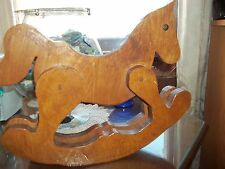 vintage folk art wood rocking horse stans approx 15 inchesx 15 in. long