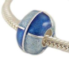Sterling Silver Cloisonne Blue Bead For 3mm European Charm for Pandöra Bracelet