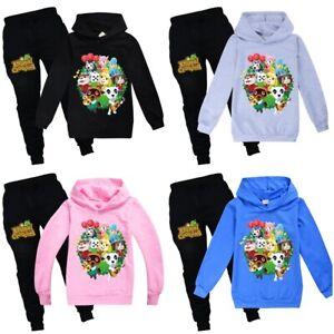 2PCS Animal Crossing Game Hoodie T-shirt Pants Kids Boys Girls Sports Suit Gift