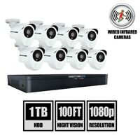 1TB DVR Security Camera System with 8 1080p Smart Infrared Bullet Cameras