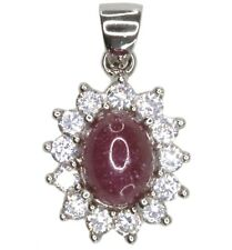 Indian Ruby Gemstone Sparkling Sterling Silver Pendant + Chain