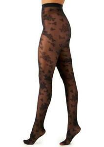 Womens Flocked Floral Tights Black Size M/L INC $14.99 - NWT