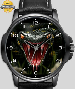 Snake With Big Red Fangs Art Design Unique Unisex Beautiful Wrist Watch UK FAST