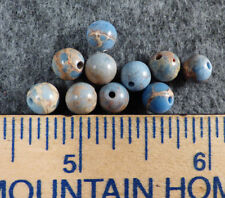 10 Old Indian Jasper Blue & Brown Turquoise Stone Trade Beads Fur Trade 1800's