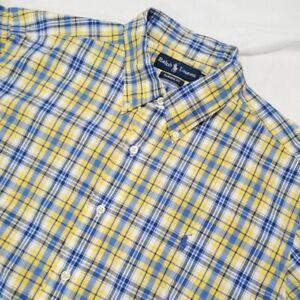Ralph Lauren Men's Classic Fit Button Front Shirt X-Large Yellow & Blue Plaid