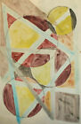 Vintage abstract avant garde cubist watercolor painting
