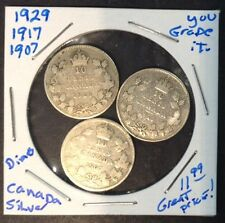 1929, 1917, 1907 10C Canadian Silver Dimes