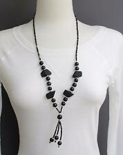 """Black necklace tassel bead pendant 26"""" long beaded Y necklace seed bead lariat"""
